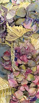 """Marque page botanique """"Fleurs d'hortensias secs sur la table"""""""