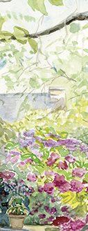"""Marque page botanique """"Promenade dans le petit jardin d'hortensias"""""""